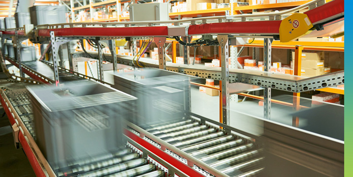 Blurry conveyor belt in a package distribution facility