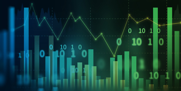 Green and blue stock graphs