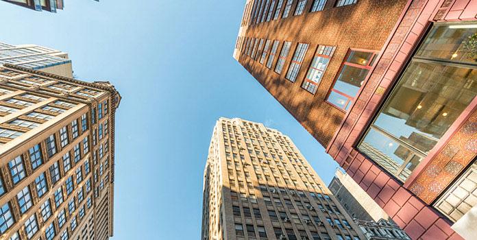 Upward shot of city skyscrapers