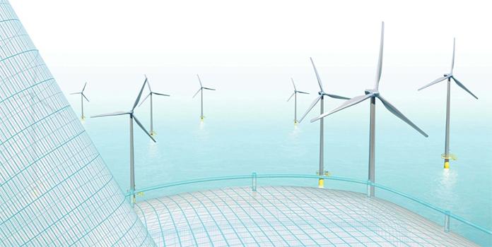 Digital image of wind turbines in water