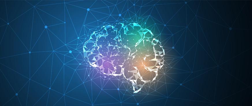 Colorful illuminated illustration of human brain