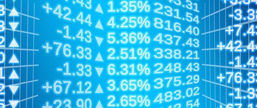 Neon blue stock exchange numbers