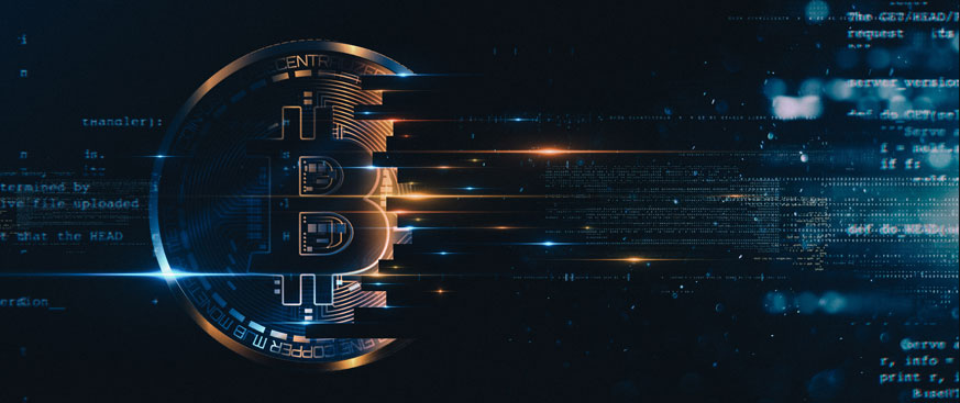 Crypto currency coin fading into data numbers