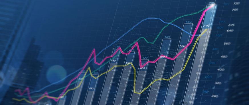 3D bar chart with line graph overlay in an upward trend.