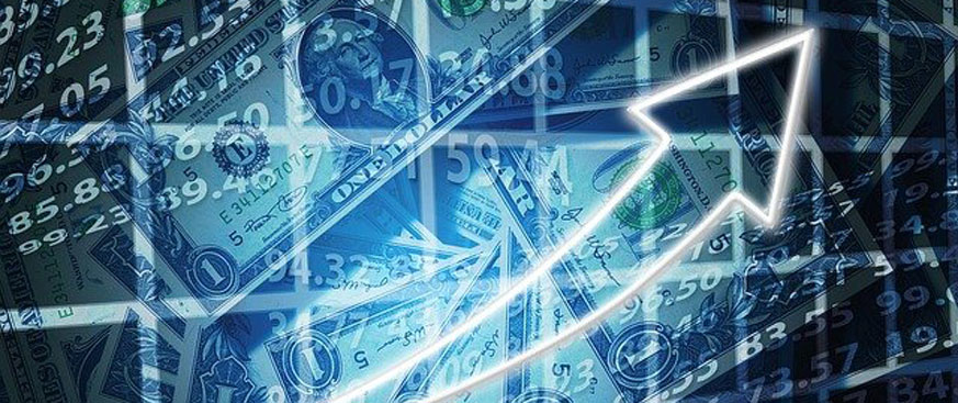 Faded dollar bills over an upward trending stock market