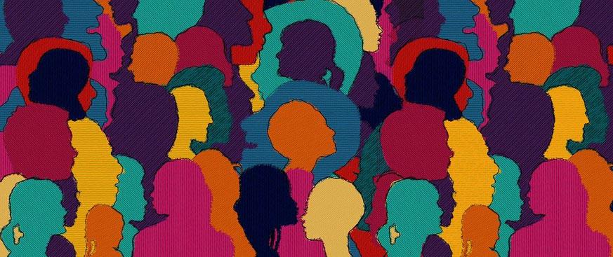 Multicolored facial profiles