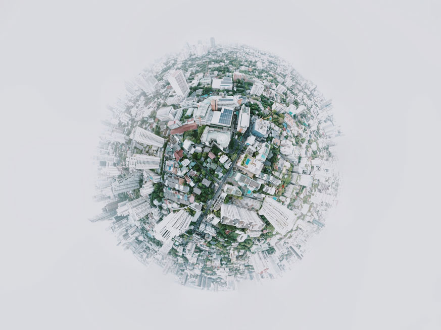 White background with 360 degree photo of a metropolitan city - used in the DWS ESG article