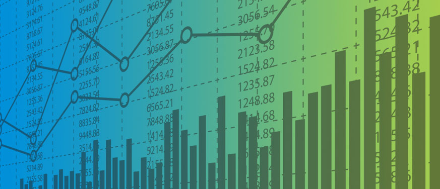 Graphs and numbers over a blue and green background