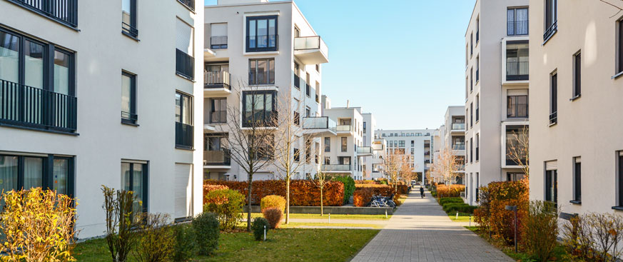 Landscaped courtyard of residential apartment complex
