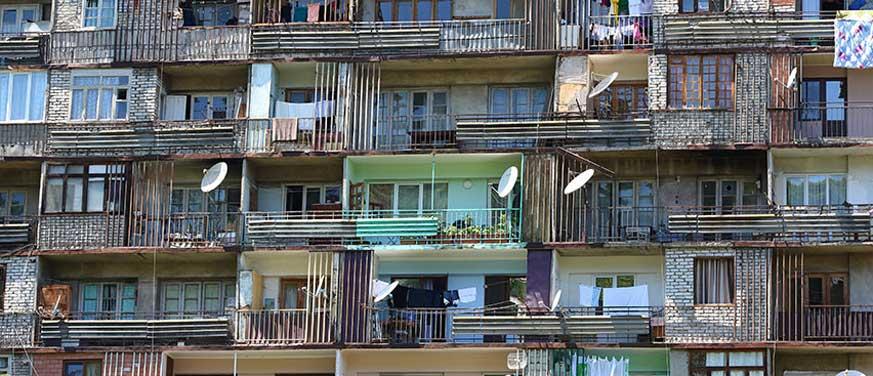 Run down apartment terraces